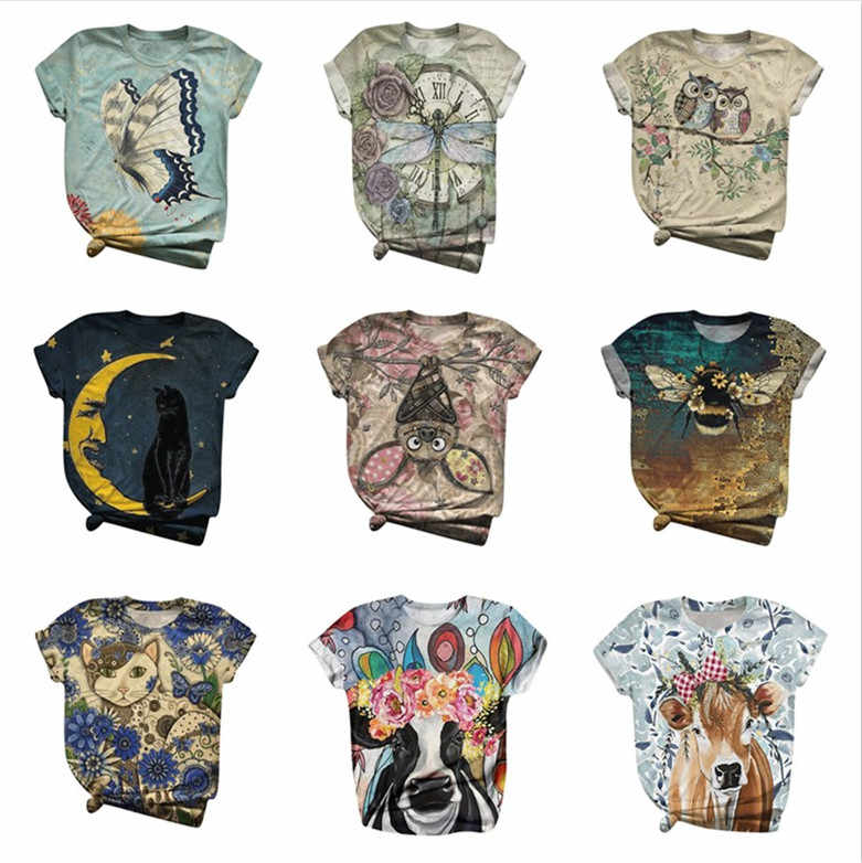 Tshirt Vrouwen Korte Mouwen 3d Animal Gedrukt O-hals Tops Tee T-shirt Camiseta Top Vrouwen Harajuku T-shirt Plus Size Camisas z0622