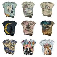 Tshirt Women Short Sleeve 3d Animal Printed O-neck Tops Tee