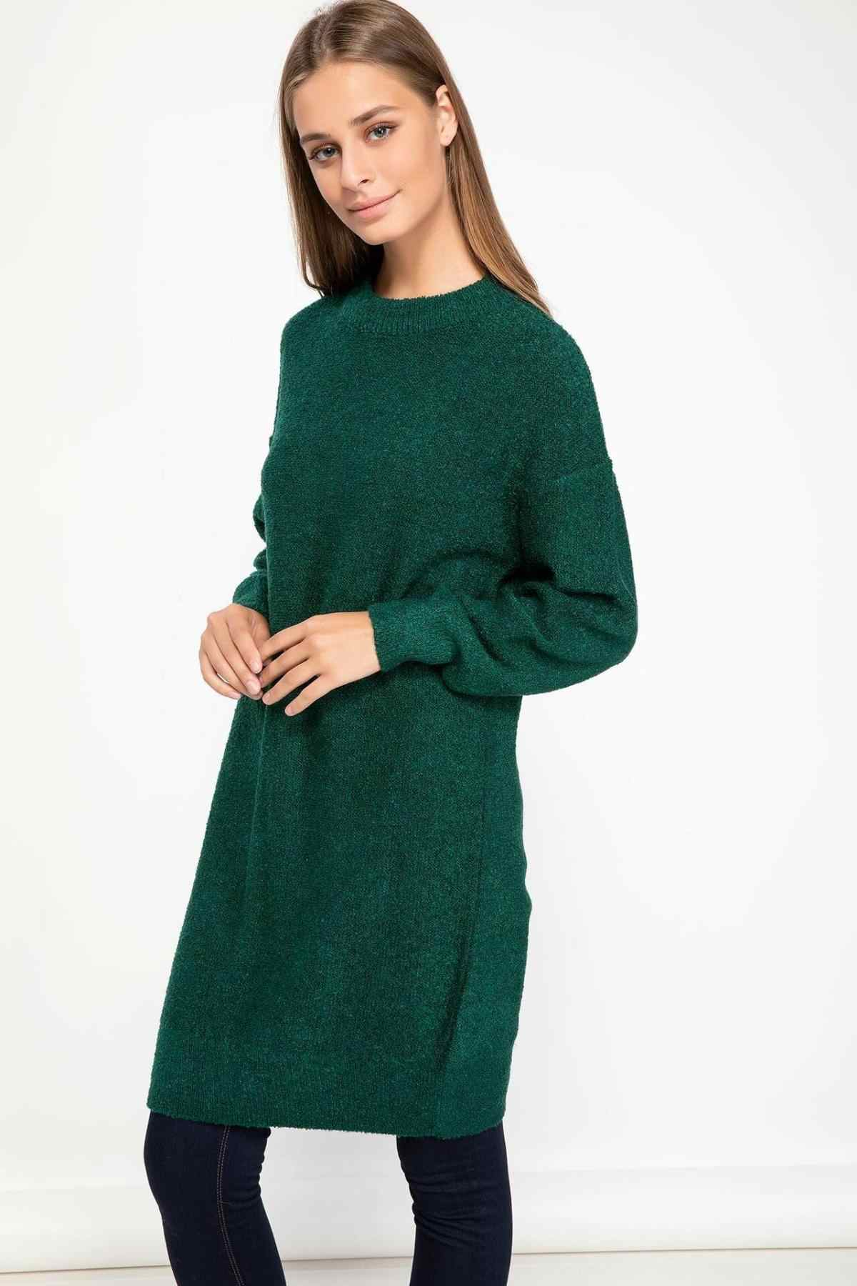 DeFacto Women Autumn Long Pullover Hoodies Pure Color Yellow Green Long Sleeve Casual Female Tops Tunic-J0409AZ18WN