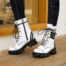 Prova perfetto concisa feminina meados de bezerro botas de couro genuíno cores misturadas dedo do pé quadrado rendas-up fundo grosso wearproof sapatos casuais