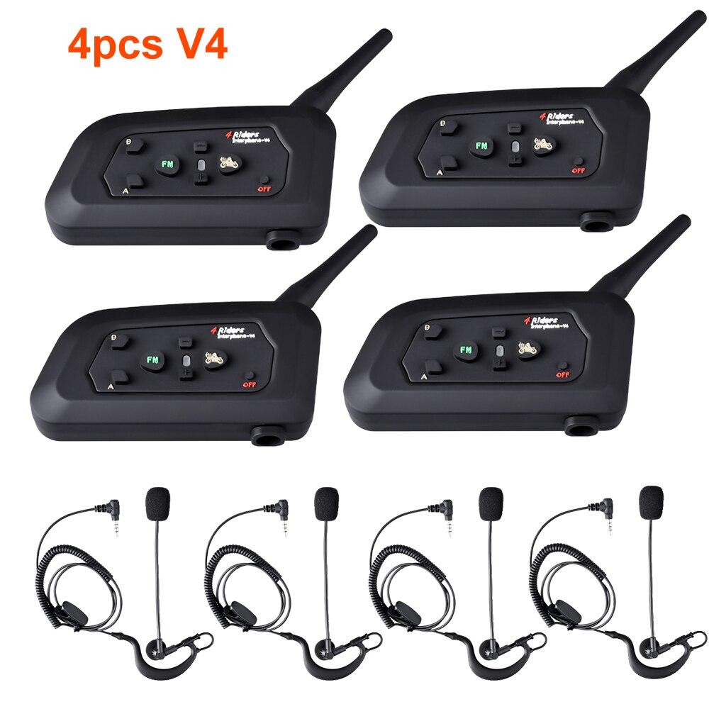 4 sztuk Fodsports V4 sędzia interkom prowadnice słuchawek dousznych 1200M Bluetooth FM 4 osoby rozmawiają w tym samym czasie dla trenera Judger Earhook