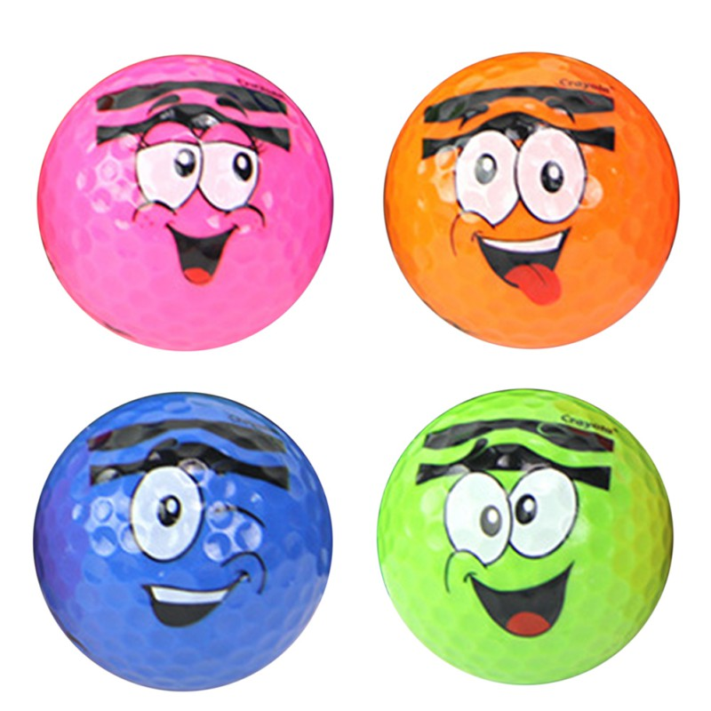 Golf Ball Cartoon Face Printed Synthetic Rubber Golfing Practice Two Piece Balls Present Gift