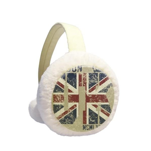 London King UK The Union Jack Flag Winter Earmuffs Ear Warmers Faux Fur Foldable Plush Outdoor Gift