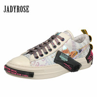Jady Rose Colorful Women Vulcanized Shoes Casual Flat Canvas Shoes Woman Espadrilles Lace up White Sneakers Basket Femme Flats