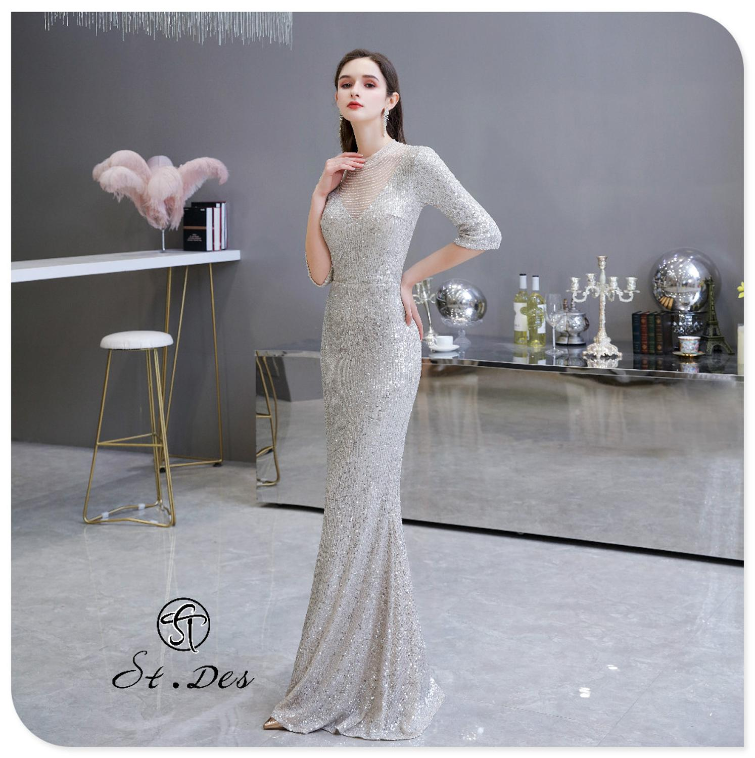 S.T.DES Evening Dress 2020 New Arrival Sliver Beading Mermaid Round Neck Long Sleeve Floor Length Party Dress Dinner Gowns
