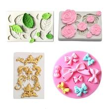 4PCS set Leaf Silicone mold Rose Flowers silicone Border Mold Many Mini bow wedding cake decorating tools
