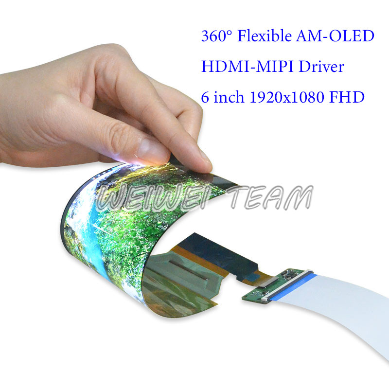 1920x1080 FHD 6 inch Flexible AMOLED Display OLED  Rollable Curved Screen IPS LCD Module Bendable Hdmi-Mipi Driver Board