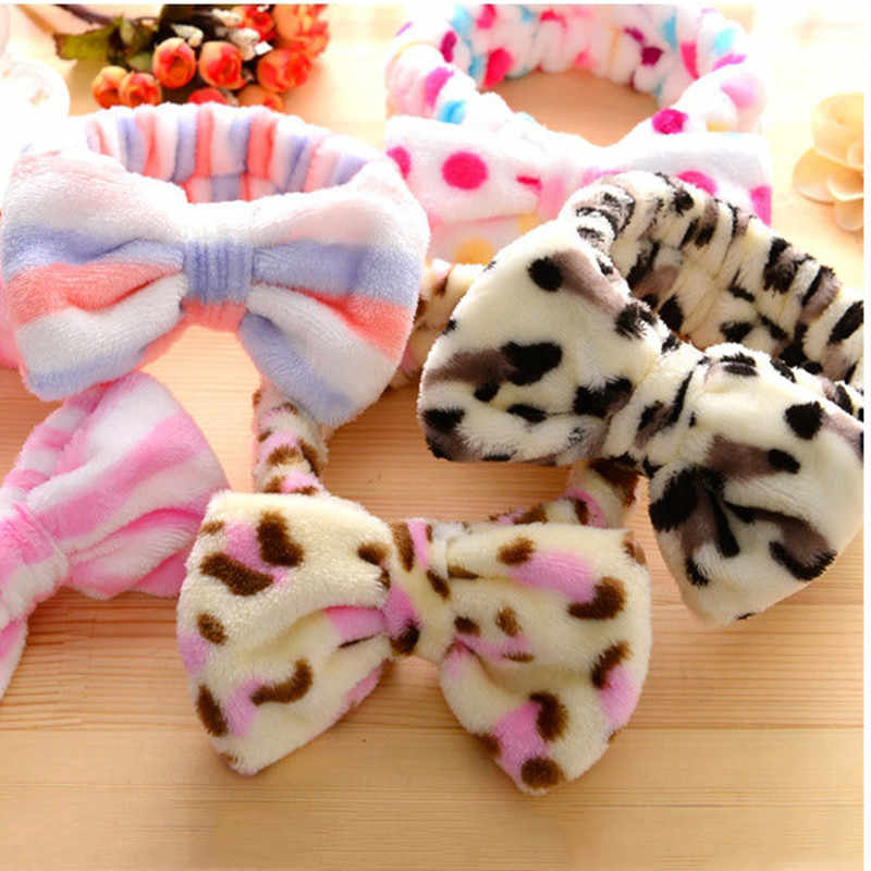 1pc Velvet Dot Print Bowknot Girl Hairband Spa Shower Face Headband Soft Wrap Band Elastic Women Bath Hair Bands Free Shipping