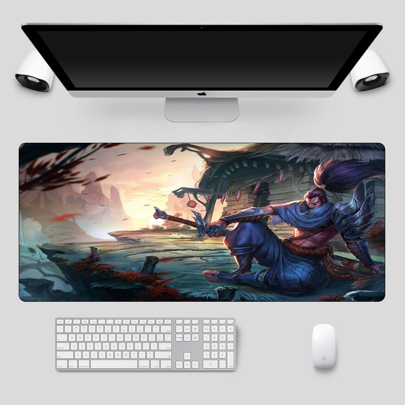 Large 70x30cm Yasuo The Unforgiven Gaming Mouse Pad  Rubber Locking Edge Mousepad For League Of Legends  Laptop Keyboard Mat