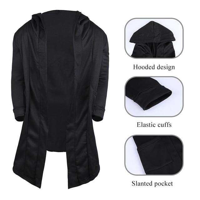 JODIMITTY 2021 Men Hooded Sweatshirts Black Hip Hop Mantle Hoodies Fashion Jacket long Sleeves Cloak  Coats Outwear Hot Sale 6