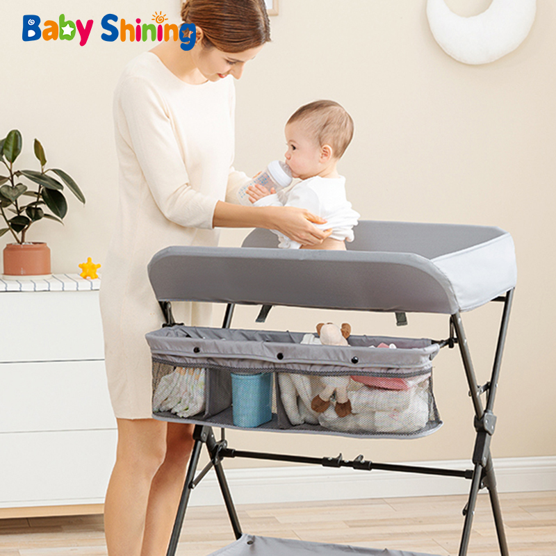 Baby Shining Baby Crib/Bed/Cot Baby Diaper Changing Table Clothes Changing Multi-Function Newborn Baby Care Table Foldable Crib