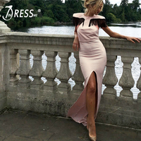 INDRESSME 2019 New Vestidos Women Sexy O Neck Tassels Short Sleeve Front Jag Bodycon Gown Dress Party Club Long Dress Wholesale