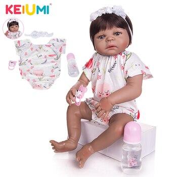 KEIUMI 23 Inch Reborn Baby Doll Full Body Silicone 57cm Realistic Black Skin Girl Kid Birthday Gift Fake Toy - discount item  48% OFF Dolls & Accessories