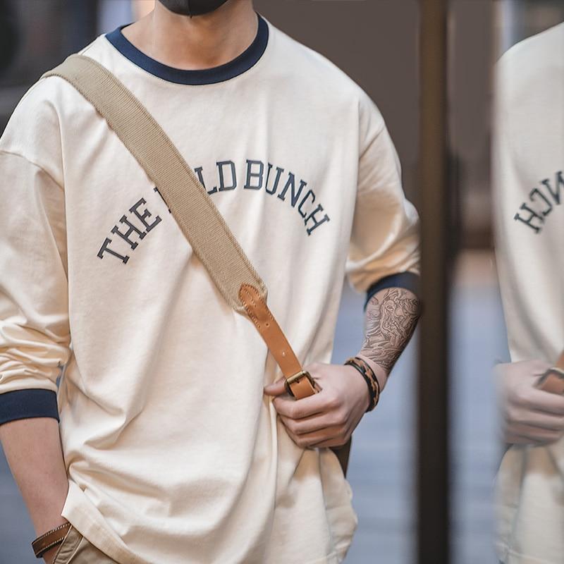 Maden Men's Casual Long Sleeve Crew Neck T-Shirt Sweatshirt Vintage Ivy Style Printed Drop Shoulder Spring Autumn Cotton T Shirt