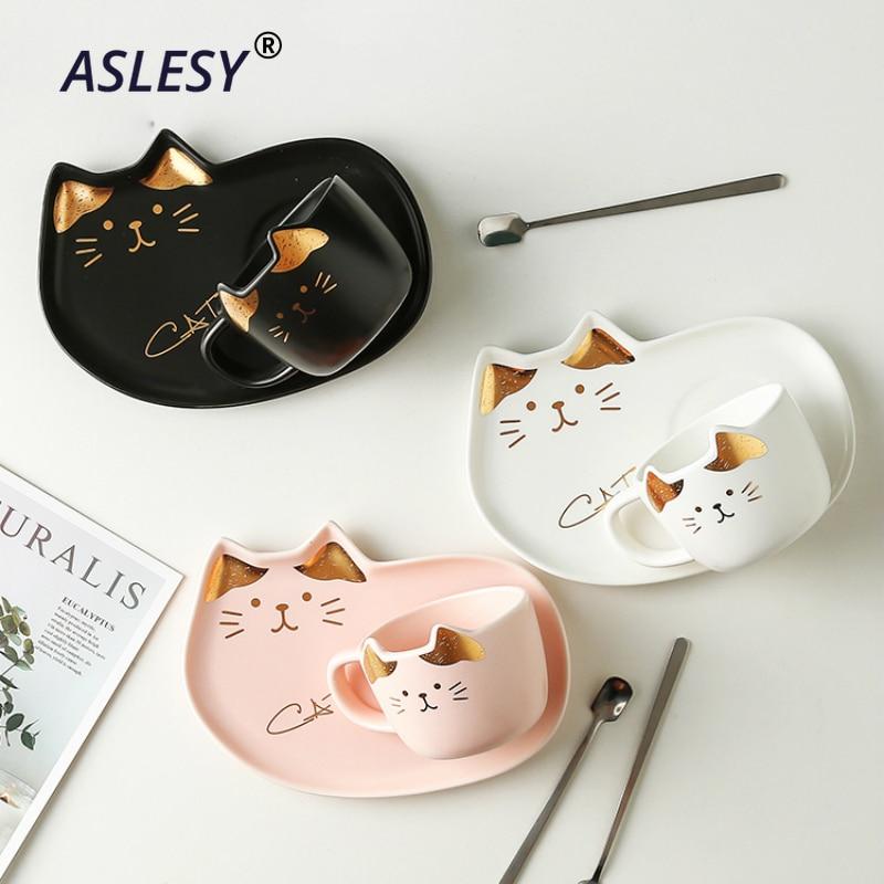 200ML Cartoon Ceramics Cat Mug Set With Saucers Spoon Coffee Milk Mugs Cute Creative Breakfast Drinkware Birthday Gift Porcelain