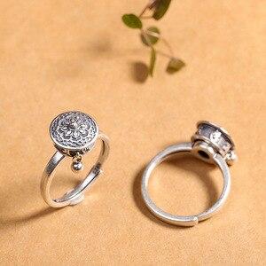 100% Серебро 925 пробы буддийское кольцо для женщин тибетское Молитвенное Колесо кольцо с мантрой удача женское кольцо ювелирное изделие лучш...