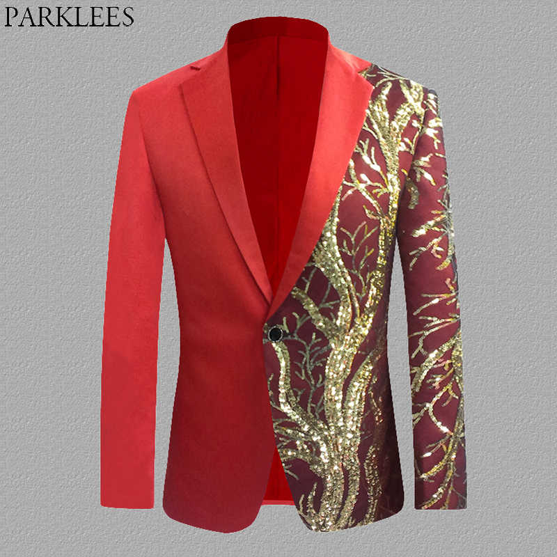 Red Shiny Glitter Sequin Blazer Men Single Button Mens Party Suit Jacket Casual Slim Fit Stage Dance Singer Costume Blazer S-4XL