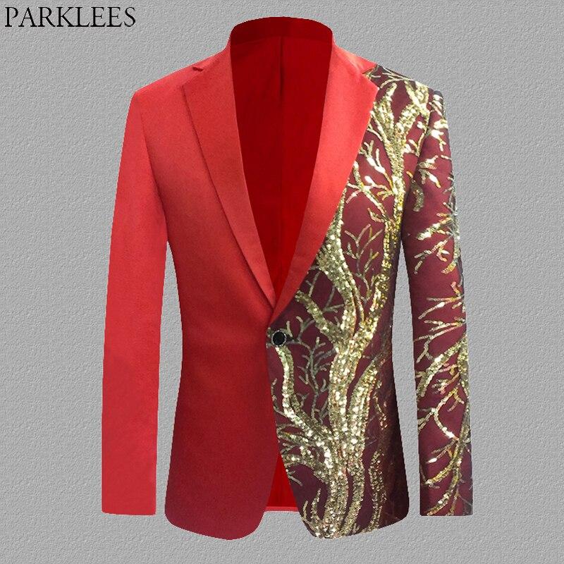 Rouge brillant paillettes Sequin Blazer hommes simple bouton hommes Costume de fête veste décontracté mince coupe scène danse chanteur Costume Blazer S-4XL