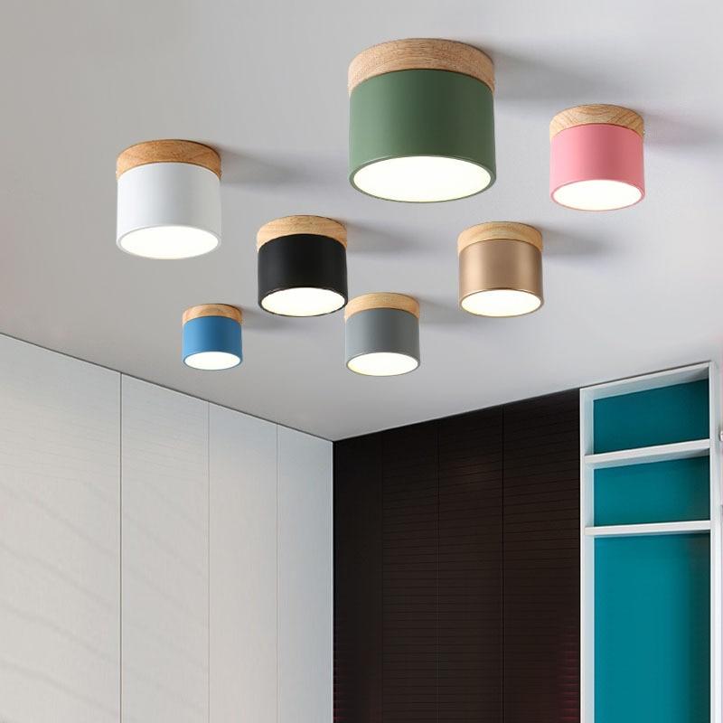 Nordic светодиодный Макарон потолочный светильник простота деревянный цилиндр вниз светильник поверхностного монтажа светодиодный коридорн...