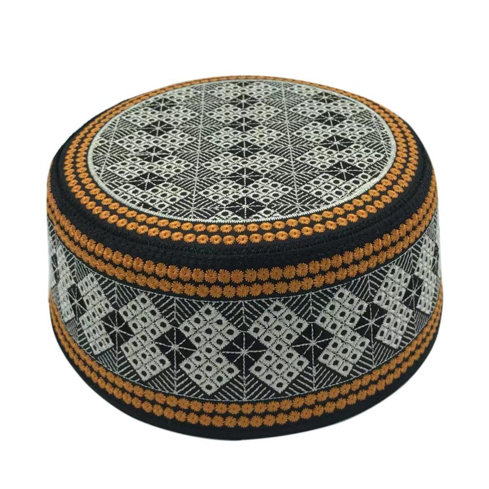 New Prayer Hats Cotton Embroidery Islamism Muslim Hat Islam Arabic India Jewish Hat Saudi Arabia Hats For Men Headscarf Clothing
