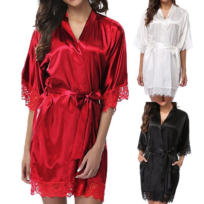 Women Short Satin Dress Nightgown Soft Belt Lingerie Bath Robe Bathrobe Pajama Nightdress Lady Sexy Lace Up Solid Sleepwear
