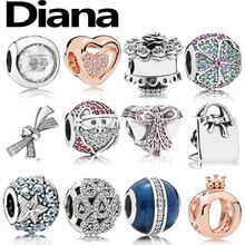 Diana fit original Pandora charm bracelet personality simple high quality fashion jewelry lady 925 sterling silver DIY beads