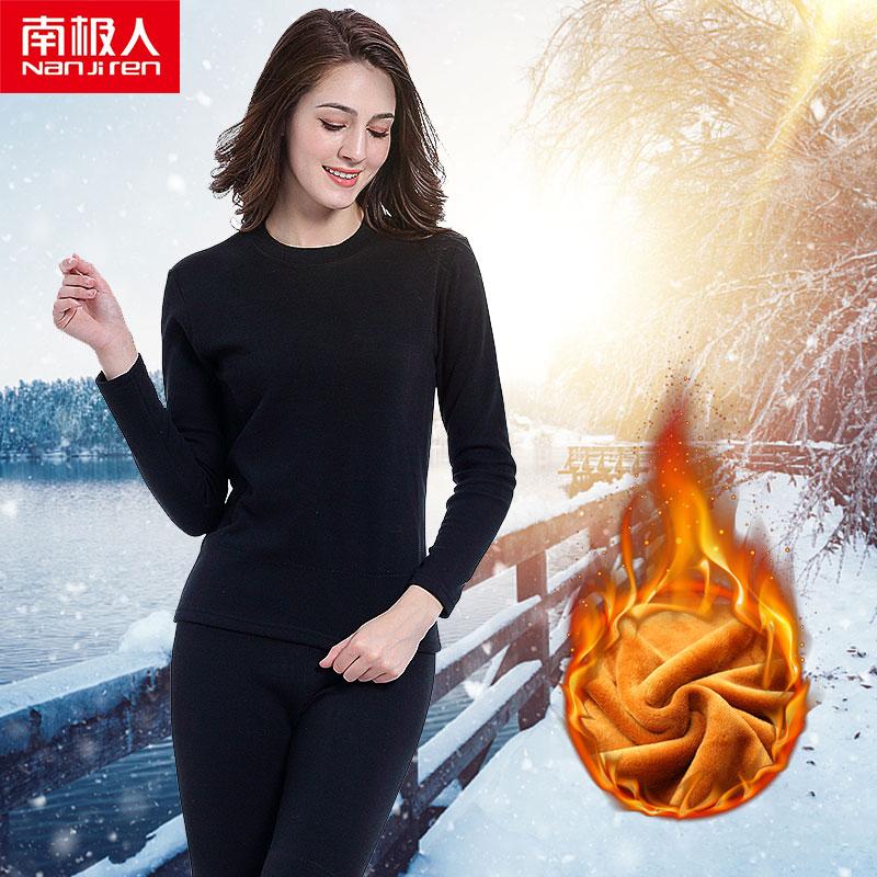 Nanjiren Vrouwen Merk Thermisch Ondergoed Sets Warm Casual Ondergoed Katoen Lange Onderbroek Sets Vrouwelijke Gouden Fluwelen Thermische Pyjama