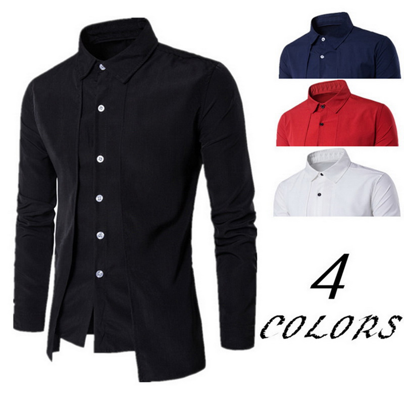 Men's Shirts Winter Long-Sleeved Autumn Casual Bussiness Solid Fake Two-Pieces New-Brand