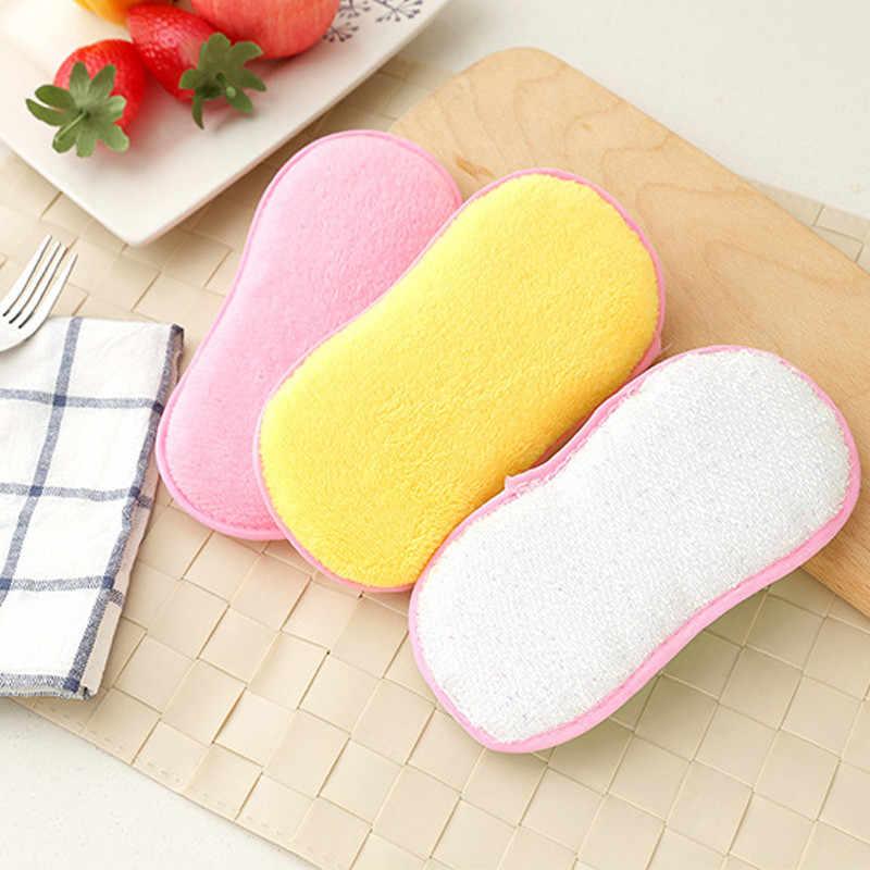 3 色非皿ボウルクリーニングブラシ両面再利用可能なぼろスポンジ精練パッドキッチンアクセサリー