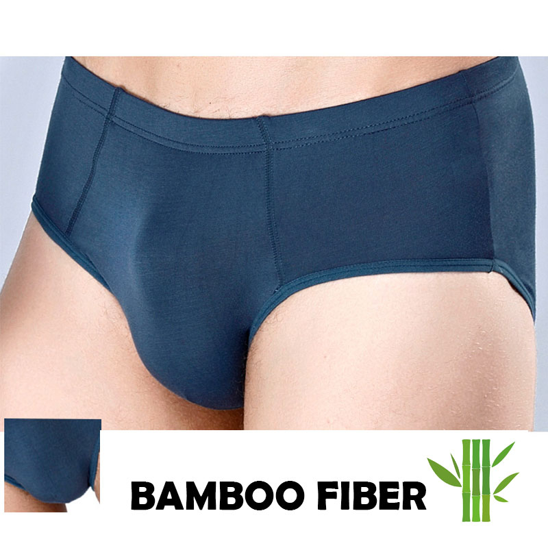 Breathable Bamboo Fiber Men Underwear For Big Penis Plus Size Solid Color Basic Ropa Interior Hombre Sexi Silk Skins Slip Briefs