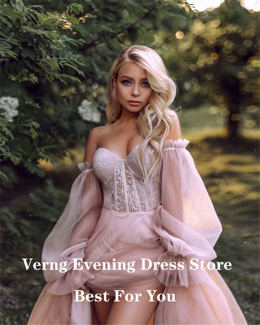 Verngo Dusty Pink Long Prom Dresses 2021 Off the Shoulder Sweetheart Tulle Romantic Elegant Princess Prom Party Gown Custom 5