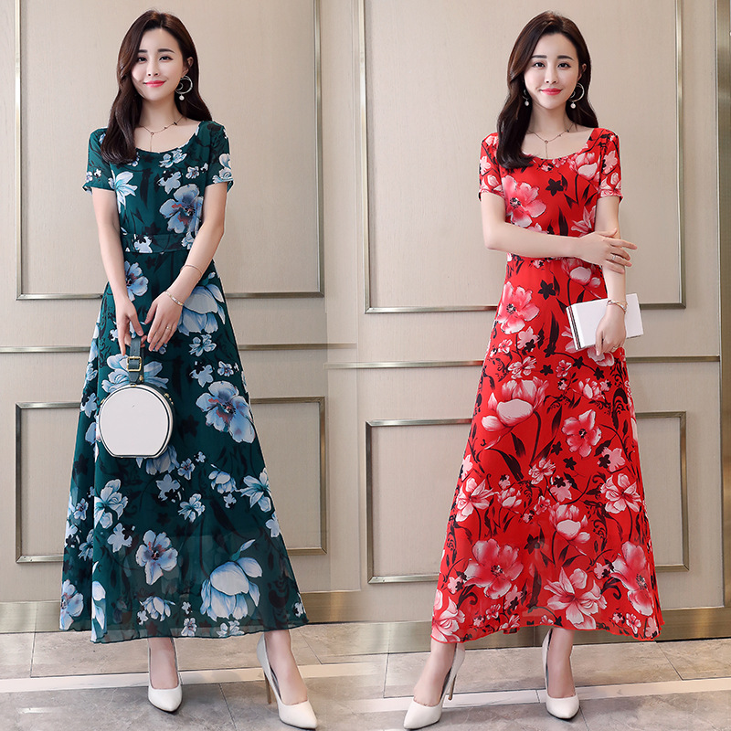 2019 New Style Chiffon Dress Women's Summer Fairy Skirt Elegant Bohemian Beach Long Skirts