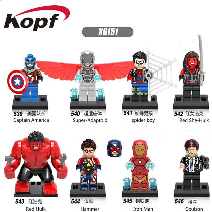 X0151 Super Heroes Red She-hulk Super-Adaptoid Hammer Iron Man Captain American Coulson Action Building Blocks Children Toys
