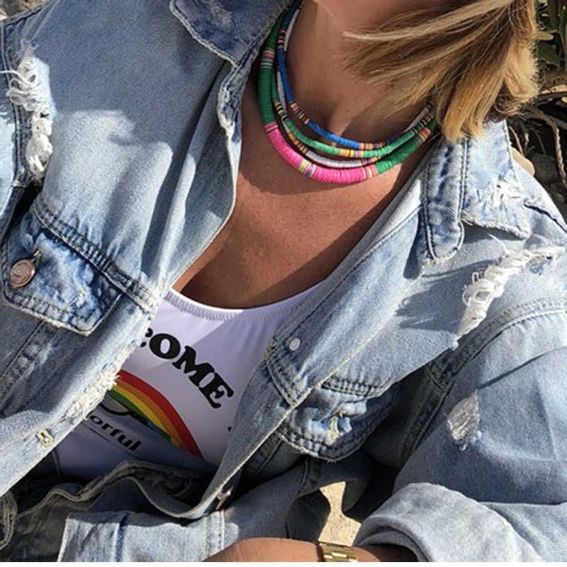 Noter 2020 여자를위한 유행 4/6mm 중합체 찰흙 목걸이 소녀 보헤미아 초커 목걸이 여름 바닷가 보석 Accesorios Mujer 선물