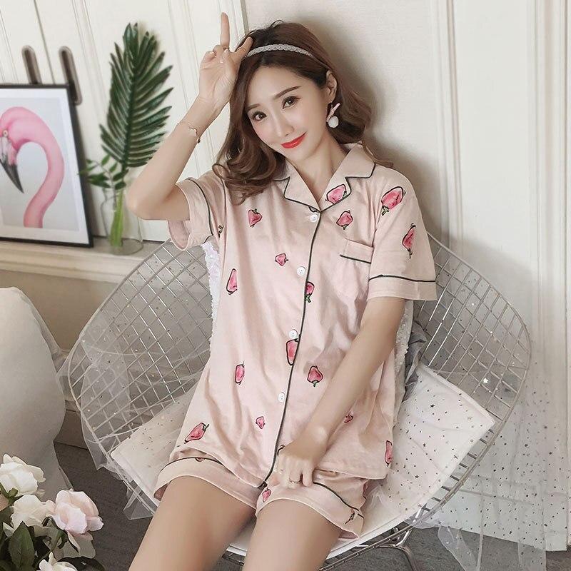 [[Jun Xin]] Summer Short-sleeved Set 6535 Cardigan Fold-down Collar Black Circle Shallow Strawberry Pajamas Women's Have Origina
