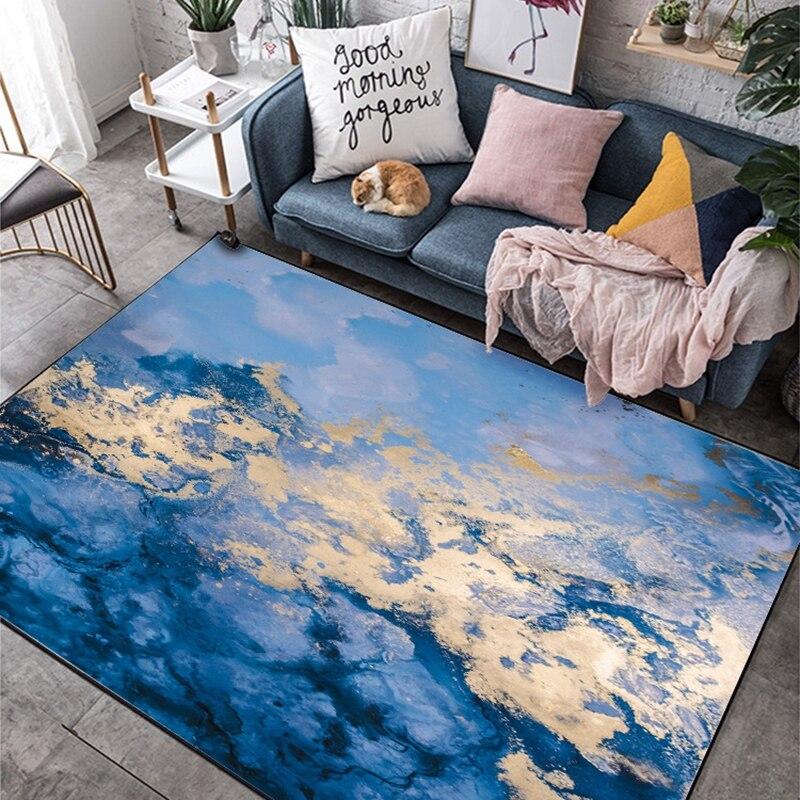 3D Cliff Falls Cielo azul Alfombra de loto blanco Alfombra de piso Cocina antideslizante Dormitorio impermeable Suelo cuadrado Mural 150cm /× 105cm
