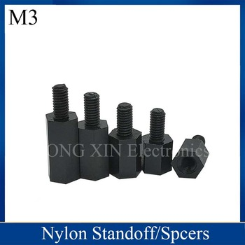 M3*5/6/8/9/10/11/12/15/16/18/20/22/24/25/28/30/32/35/38/40/45/50+6 Black Nylon Standoff Spacer Standard M3 Male-Female image