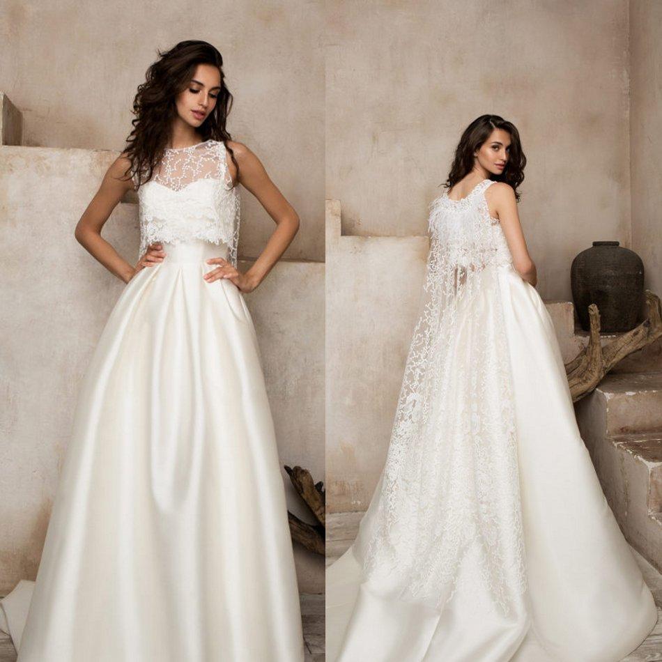 Berta 2020 Wedding Dresses With Wrap Jewel Lace Satin Beach Bridal Gowns Customized Sweep Train A Line Wedding Dress Vestidos De
