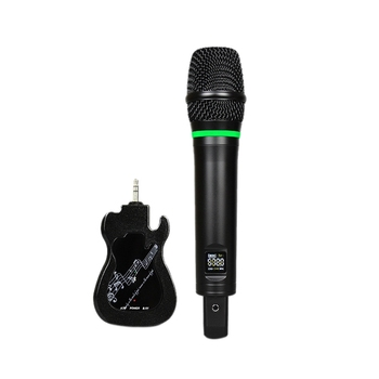 UHF with Screen Rechargeable Universal Wireless Microphone One Drag a Computer Stereo Plug and Play Handheld Microphone