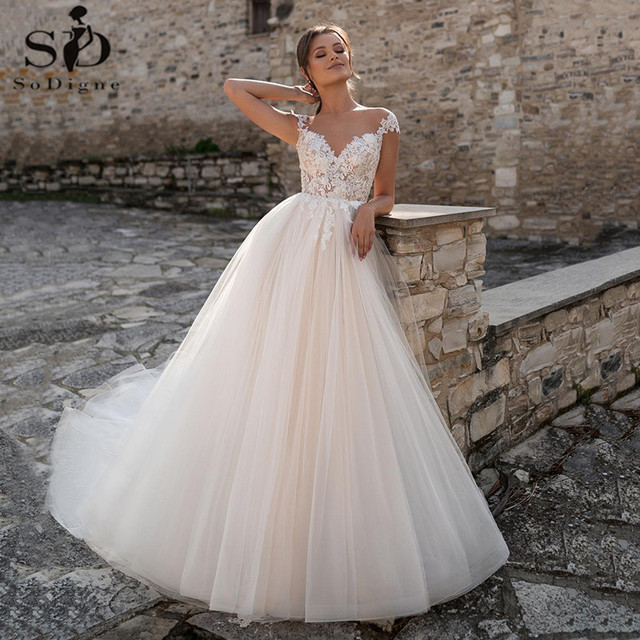 SoDigne Lace Wedding Dresses 2021 V Neck Capped Sleeves Appliques Bridal Gowns A Line Princess Wedding Gown Robe De Mariee 1