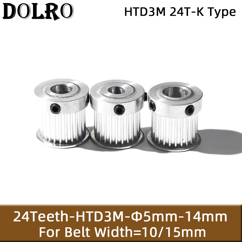 HTD3M 24T Timing Pulley 5/6/8/10mm Bore Gear Pulley 3mm Pitch 10/15mm Belt Width K type Aluminum Synchronous Timing Belt Pulleys