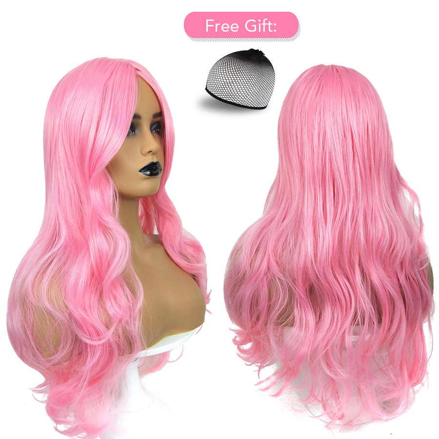 Belleza en Línea 70CM onda del cuerpo Color rosa claro peluca sintética para mujeres pelucas largas onduladas parte media boda resistente al calor pelucas