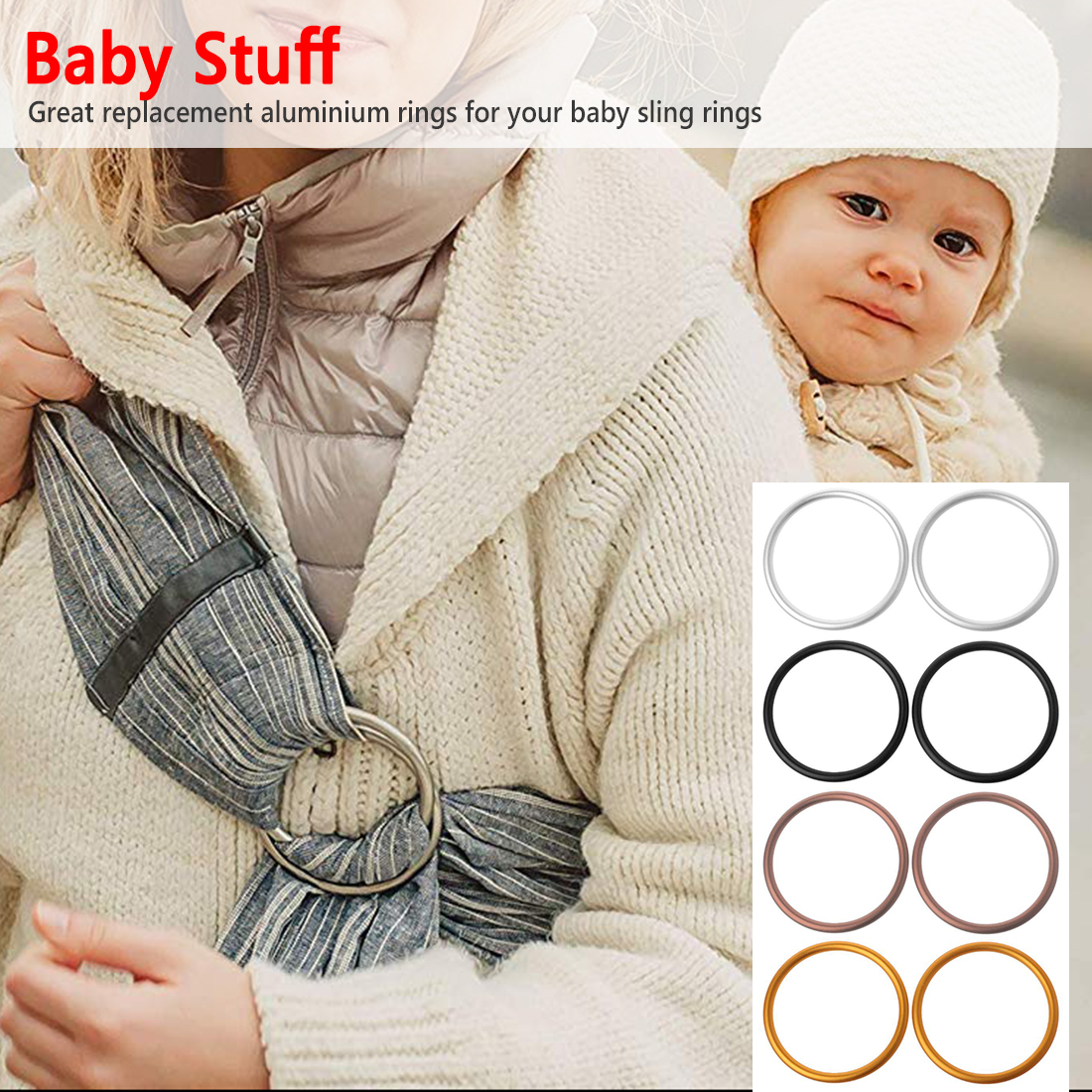 Premium Aluminum Rings For Baby Slings Baby Carriers Accessories 4 Colors For Baby Carriers & Slings 2 2.5 3 Inches