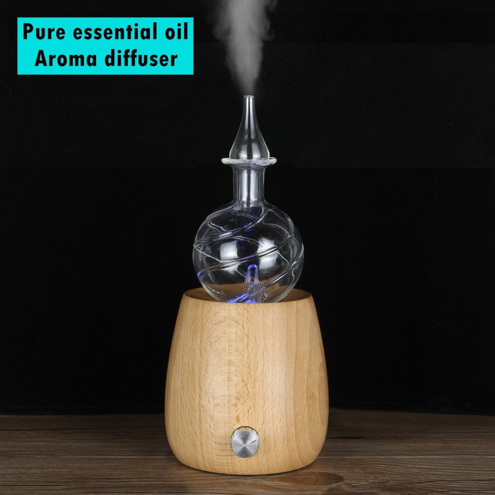 Waterless Pure Essential Oil Diffuser Nebulizer Oil Air Diffusers Aromatherapy Diffusers Wood Glass Electric LED Light For Home