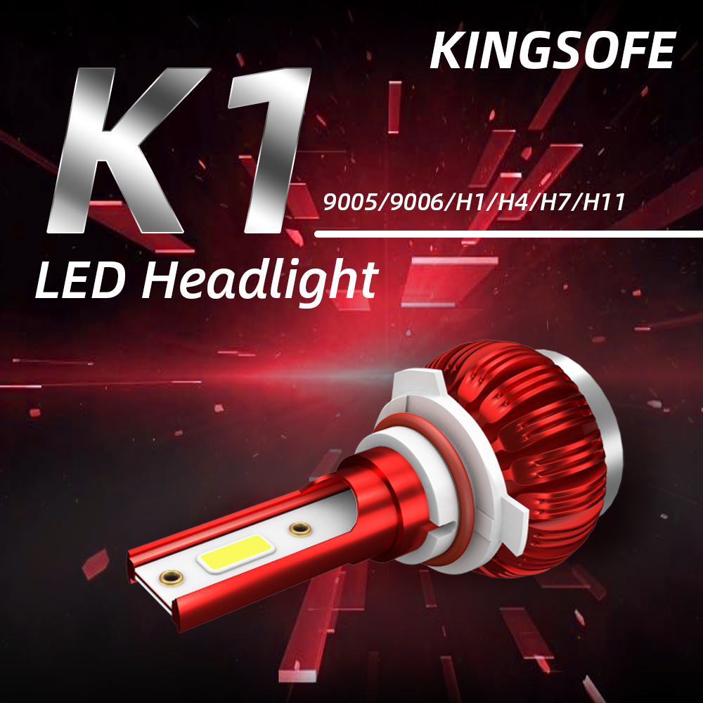 KINGSOFE New K1 Car 6000K Cold White Light Bulb LED H1 / H4 / H7 / H11 / 9005/9006 Car Modeling Lights Auto Parts 18W Bulb