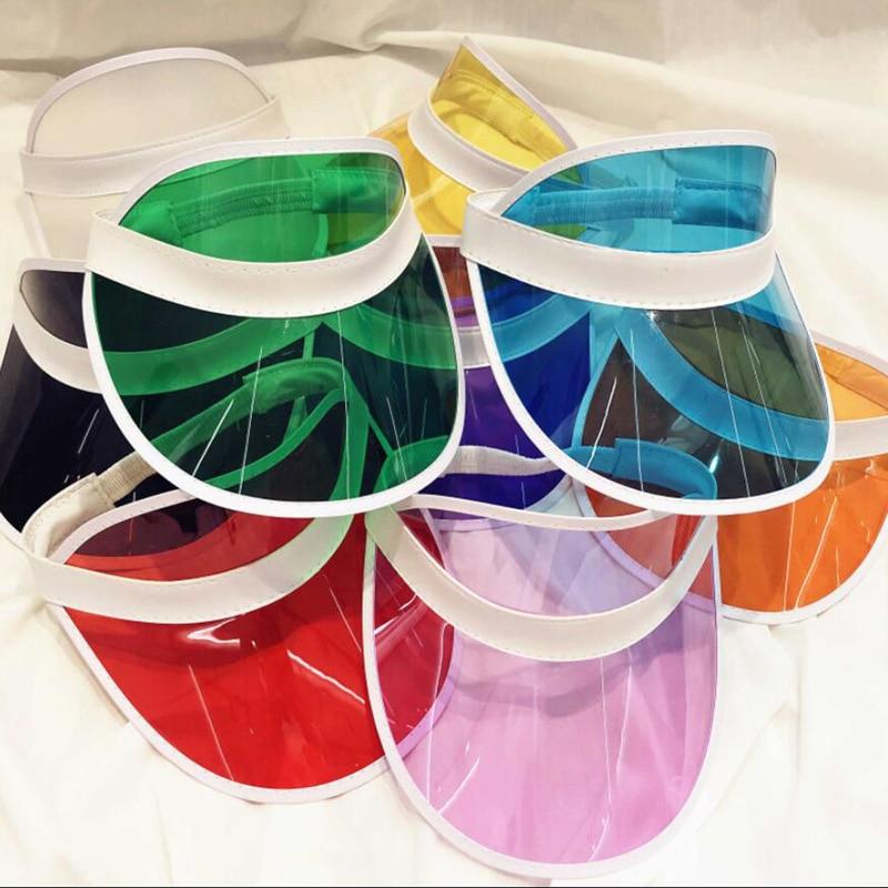 Sombrero de sol Anti-UV para hombre y mujer, gorra vacía de Color transparente, sombreros protectores de Sol de plástico PVC, gorra deportiva