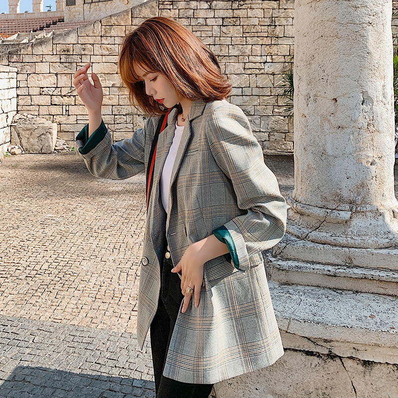 Fashion Spring Women Plaid Blazers and Jackets Work Office Lady Suit Slim Double Breasted Business Female Blazer Coat Talever