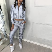 WOMAIL Women Casual Casual Women Suits Fashion V-Neck Reflective Set Long Sleeve Autumn/Winter Crop Tops and Pants(China)