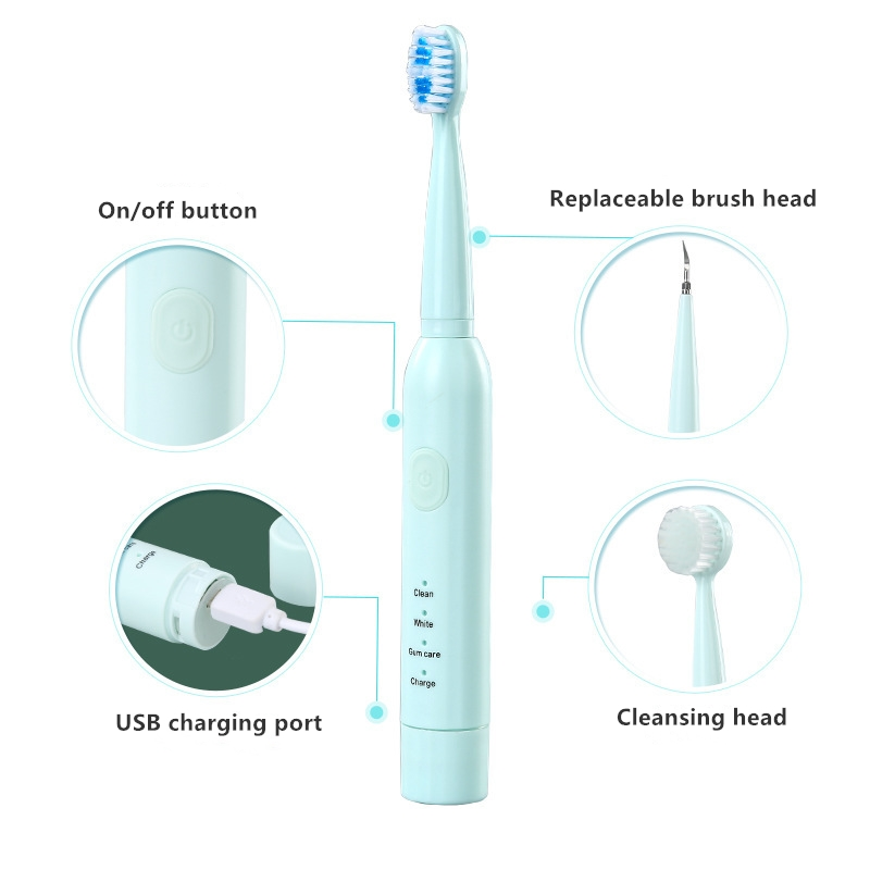 Powerful Sonic Electric Toothbrush 3 Modes IPX7 Waterproof Replaceable Head USB Charger with Dental Cleaner Face Brush