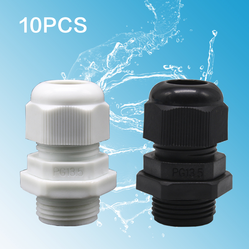 10pcs White IP68 PG7 for 3-6.5mm PG9 PG11 PG13.5/16/19/21/25/29/36 Wire Cable CE Waterproof Nylon Plastic Cable Gland Connector image